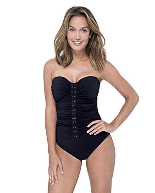 Gottex - Black Center Detail Bandeau One Piece Swimsuit - Lyst