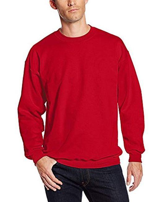 204951e19aa Hanes - Red Ultimate Cotton Heavyweight Crewneck Sweatshirt for Men - Lyst  ...