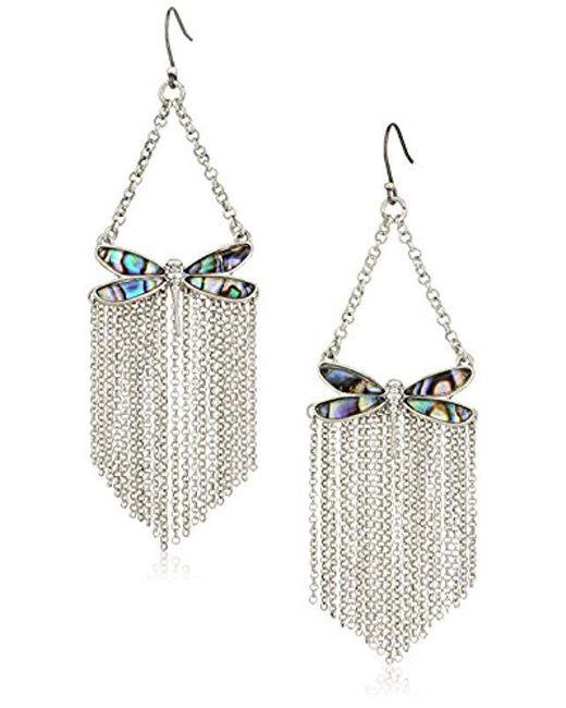 Lucky Brand - Metallic S Abalone Dragonfly Fringe Earrings - Lyst