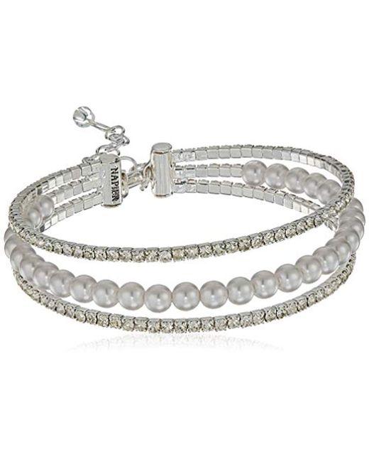 Napier - Metallic Pearl Coil Flex Bracelet, Silver - Lyst
