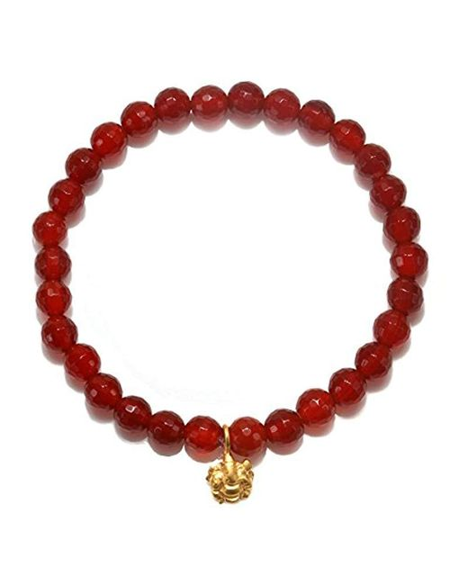 Satya Jewelry - S Carnelian Gold Ganesha Stretch Bracelet, Orange, One-size - Lyst
