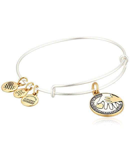 ALEX AND ANI - Metallic S Hand In Hand Ii Two-tone Bangle - Lyst