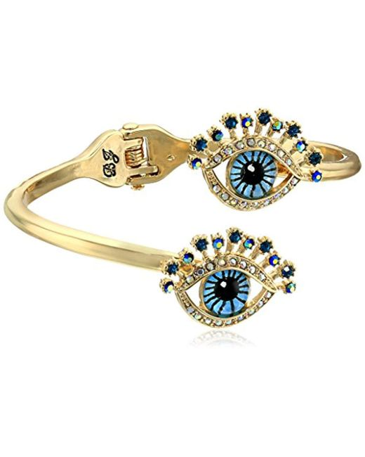 Betsey Johnson - Blue Betsey's Delicates Eye Bypass Hinged Bangle Bracelet - Lyst