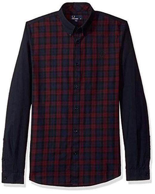 Fred Perry - Blue Blocked Tartan Shirt for Men - Lyst