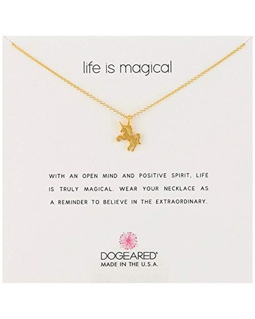 """Dogeared - Metallic """"life Is Magical"""" Unicorn Necklace, 16""""+2"""" Extender - Lyst"""