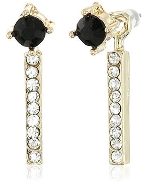 Jessica Simpson - Metallic Antique Gold/crystal/jet Petite Rectangle And Circle Stud Earrings - Lyst