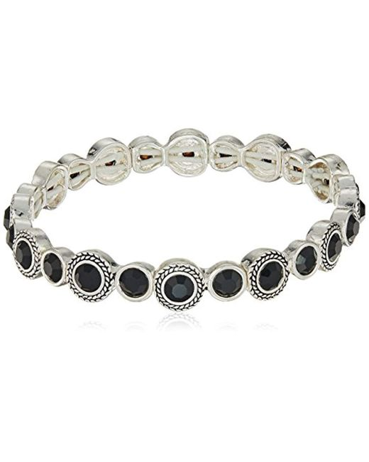 Napier - Black Jet And Silver Glass Stretch Bracelet - Lyst