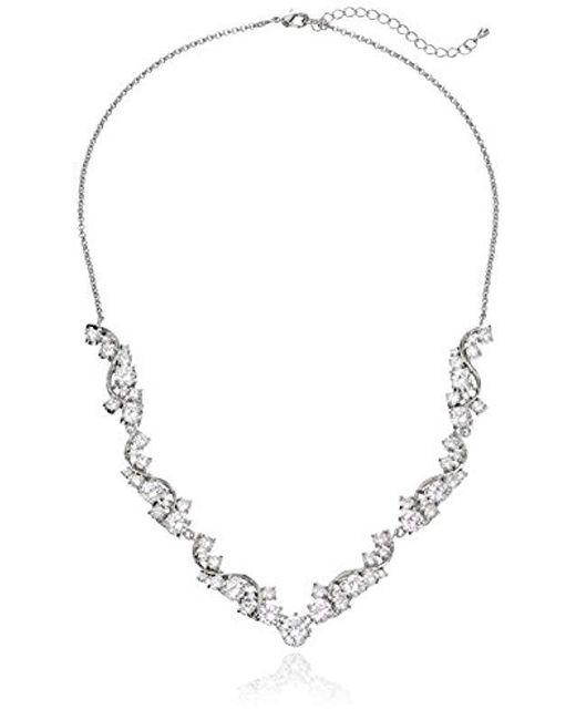 "Nina - Metallic Danesa Romantic Sweeping Cubic Zirconia Collar Necklace, 18.75"" + 2.25"" Extender - Lyst"