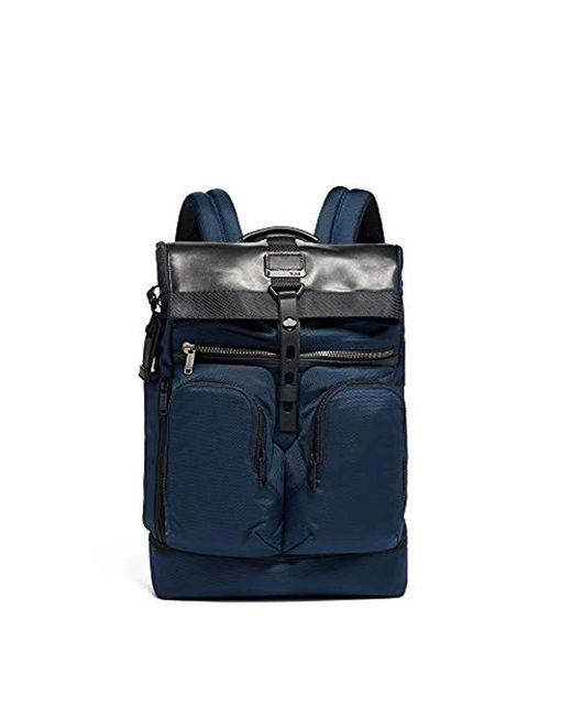 c6c3272a85 Tumi - Blue Alpha Bravo London Roll Top Backpack for Men - Lyst ...