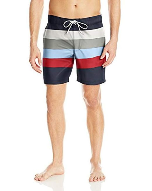Nautica - Blue Quick Dry Striped Swim Trunk for Men - Lyst