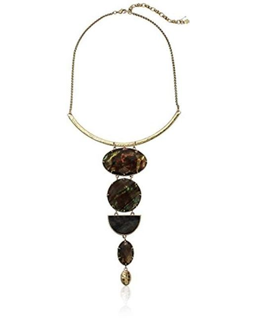 Lucky Brand - Metallic Abalone Statement Necklace - Lyst