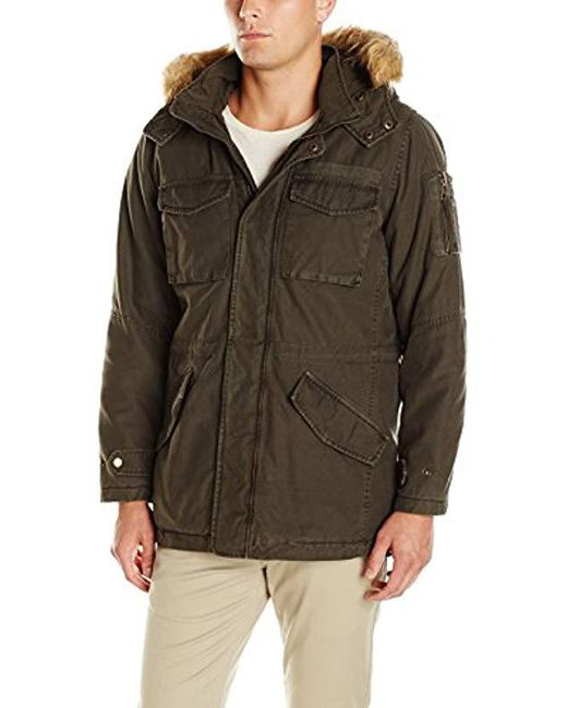 784aca9d651a5 Lyst - Guess Cotton Parka With Faux Fur in Green for Men - Save 15%