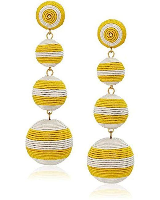 Kenneth Jay Lane - Yellow White Stripe Thread Matte Drop Earrings - Lyst