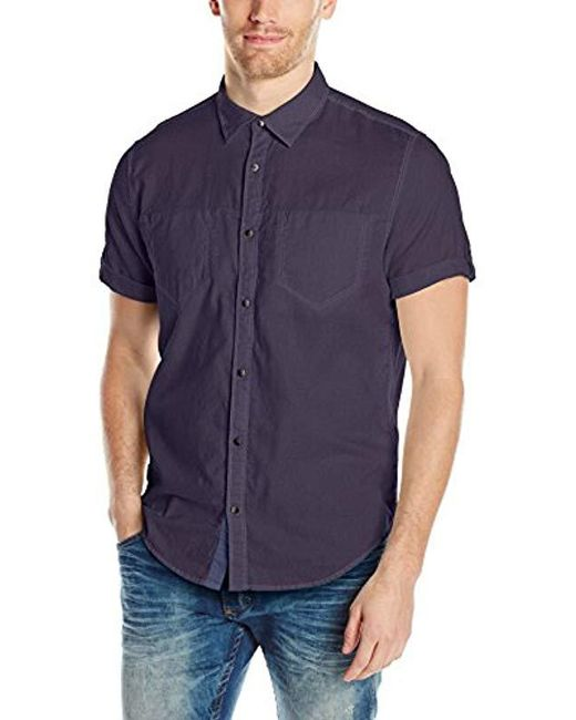 Calvin Klein - Blue Jeans Short Sleeve Roll Tab Double Pocket Button Down Shirt for Men - Lyst