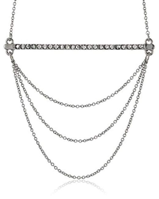 Rebecca Minkoff - Metallic Bar And Chain Pendant Necklace - Lyst