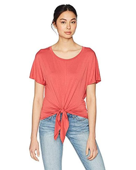 Three Dots - Red Refined Jersey Short Loose Tie Front Tee, - Lyst