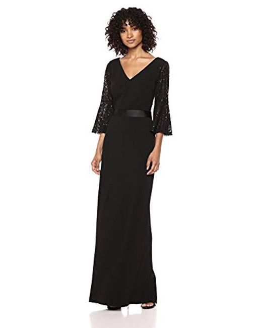 Lyst Calvin Klein Sequined Lace Bell Sleeve Long Dress In Black
