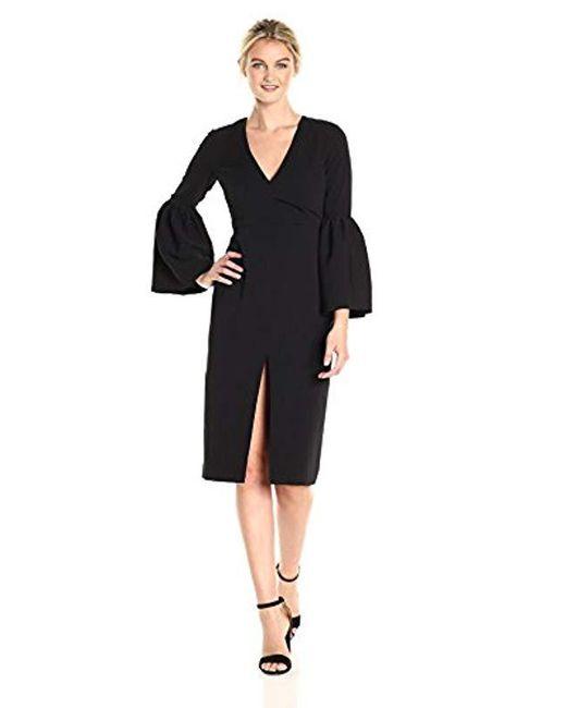JILL Jill Stuart - Black V Neck Dress With Bell Sleeves - Lyst