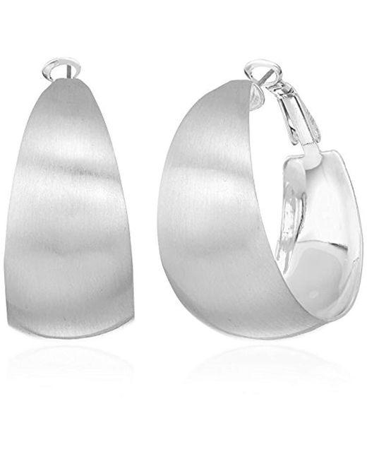 Rebecca Minkoff - Metallic Wide Textured Silver Hoop Earrings - Lyst