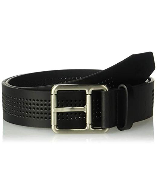 4296b6ca8 Lacoste - Black Perforated Leather Belt W  Roller Buckle (white) Men s Belts  for