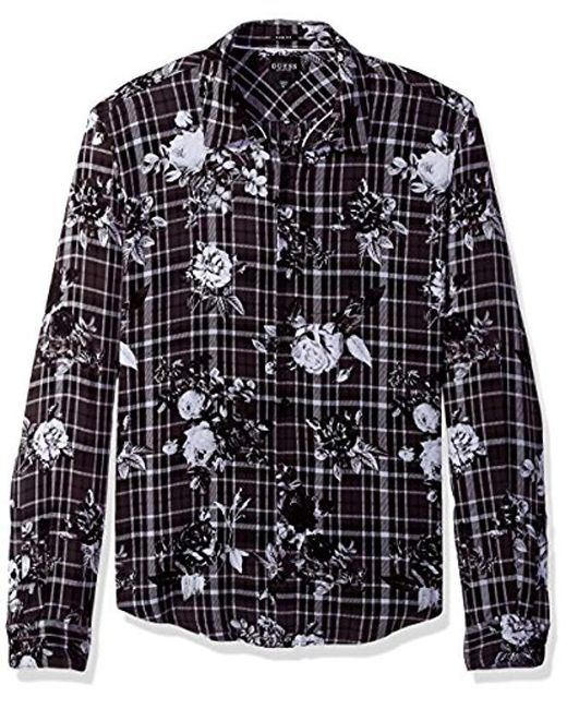 Guess - Black Long Sleeve Mosh Floral Plaid Shirt for Men - Lyst