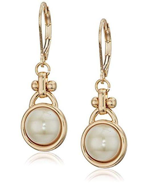 Anne Klein - Metallic Gold Tone Pearl Drop Earrings - Lyst