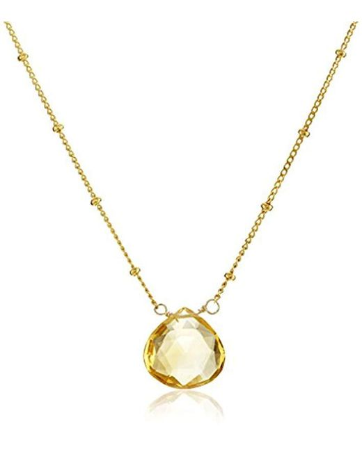 "Satya Jewelry - Yellow Drop Pendant Necklace, 18"" - Lyst"