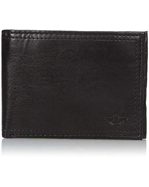 Dockers Black Leather Bifold Wallet for men