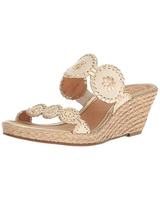 5b83bfc31062 Jack Rogers - Multicolor  shelby  Whipstitched Wedge Sandal - Lyst ...