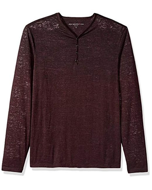 John Varvatos - Purple Long Sleeved Button Front Henley for Men - Lyst