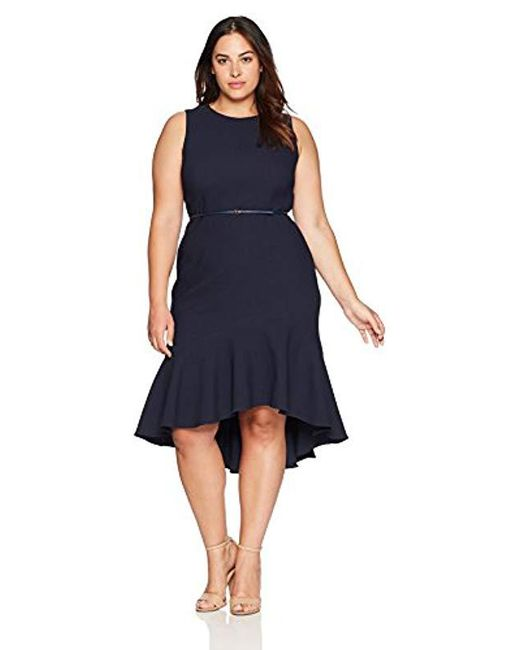 Adrianna Papell Blue Structured Knit Trumpet Dress
