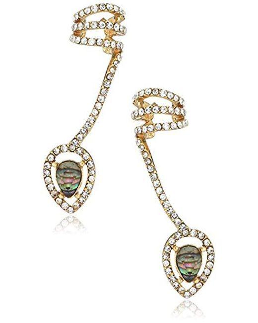 RACHEL Rachel Roy - S Marquis Shell Crawler Earrings, Blue, One Size - Lyst