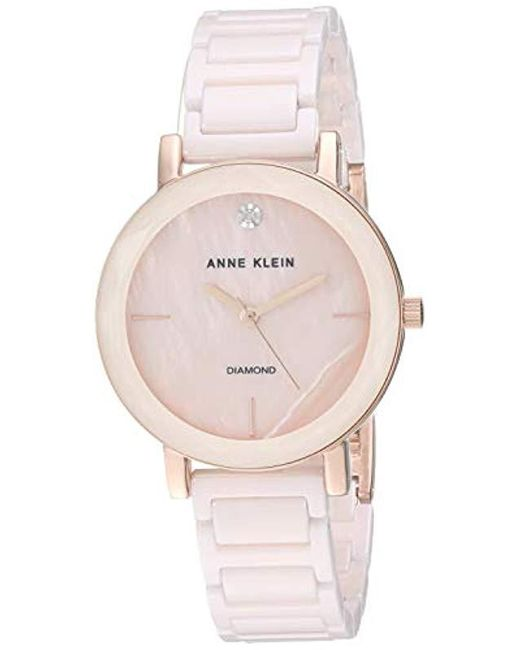 ec511ab97 Anne Klein - Pink Diamond-accented Ceramic Bracelet Watch With Faceted Lens  - Lyst ...