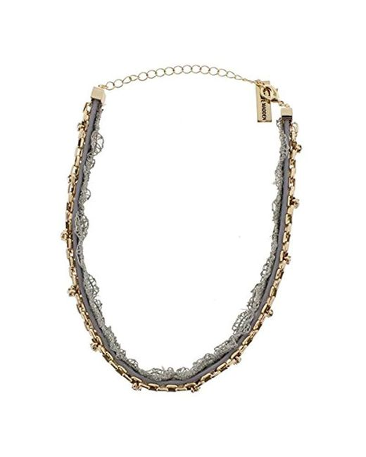 Steve Madden - Metallic S Grey Lace/leather/chain Cast Stone Choker Necklace - Lyst