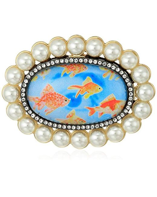 Betsey Johnson - Metallic S Granny Chic Gold Fish And Pearl Brooches And Pin, Multi, One Size - Lyst