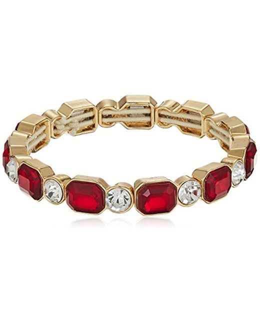 Anne Klein - Red Gold-tone Siam Stretch Bracelet - Lyst