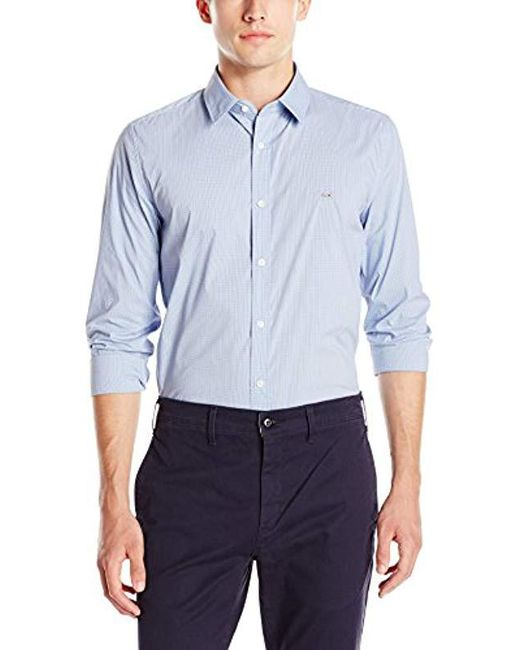 Lacoste - City Long Sleeve Stretch Check Poplin, Iodine/sky Blue/darkness, 45 for Men - Lyst