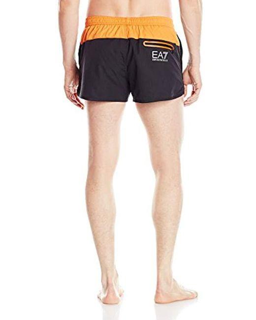 784eedab95 ... Emporio Armani - Black Color Block Stripe Mid Length Swim Shorts for  Men - Lyst