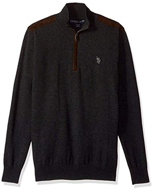 U.S. POLO ASSN. - Black Stretch Jersey Sweater W/faux Suede for Men - Lyst