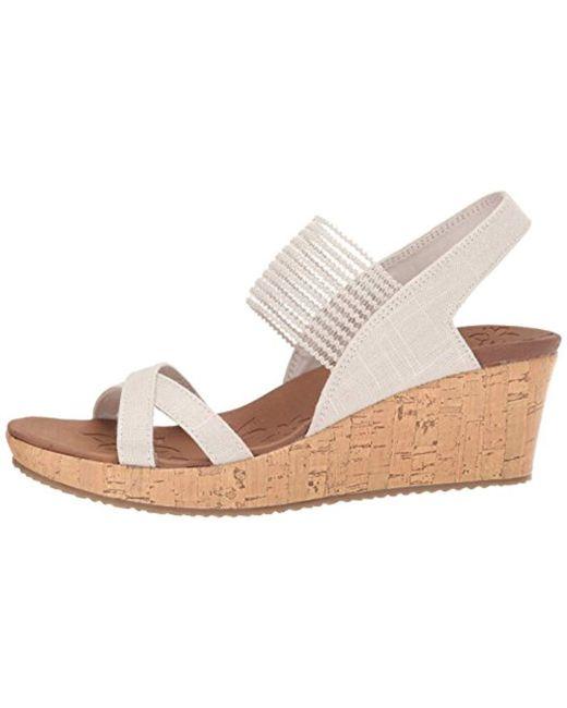 532a1589a4 Skechers Beverlee-high Tea Wedge Sandal in Natural - Save 13% - Lyst