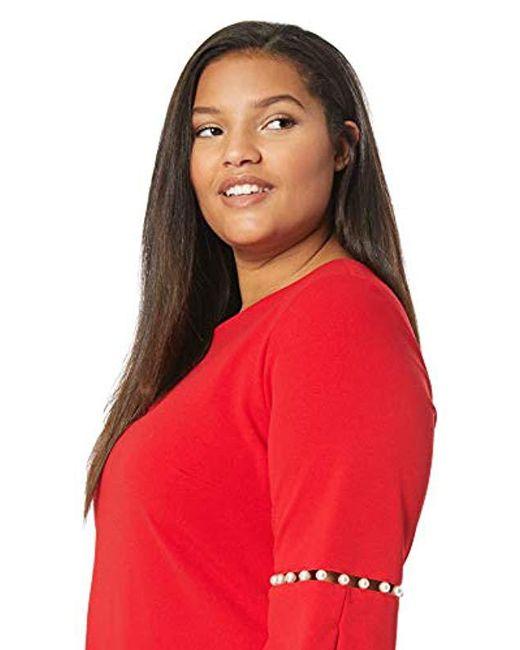 da287f186a0b3 ... Calvin Klein - Red Plus Size Solid Sheath Detailed Split Sleeve Dress -  Lyst ...