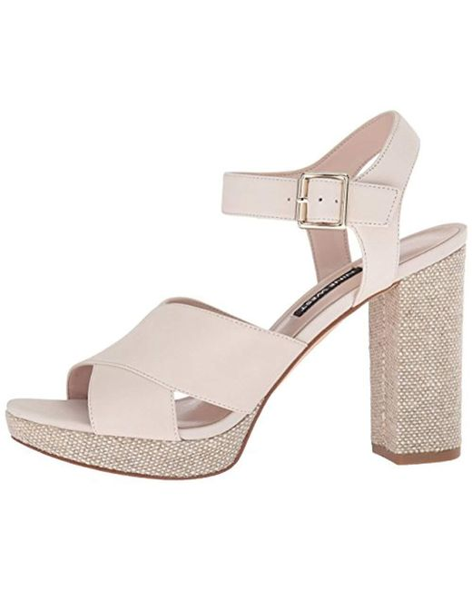 60bc571b818 Lyst - Nine West Jimar Nubuck Heeled Sandal in White - Save 83%