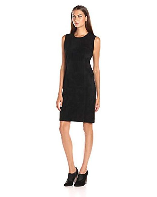 Calvin Klein - Black Sweater Dress With Suade Front - Lyst