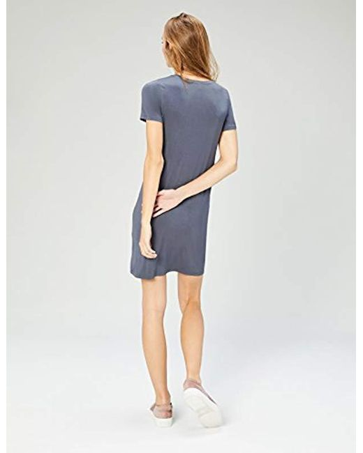 89ed7b3e985 Lyst - Daily Ritual Jersey Short-sleeve V-neck T-shirt Dress in Gray