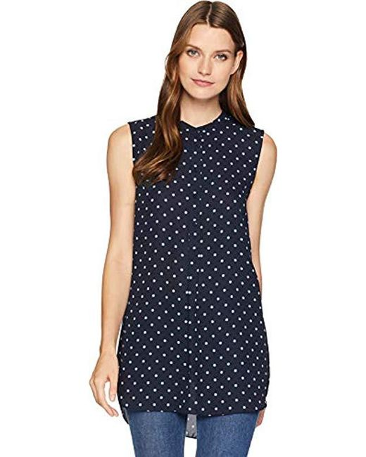 Vince Camuto - Blue Sleeveless Romantic Dots Henley Tunic, - Lyst