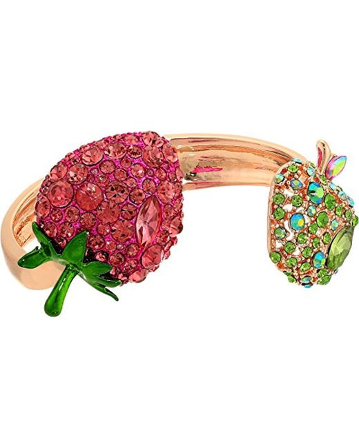 Betsey Johnson - Multicolor S Strawberry And Apple Hinge Bracelet - Lyst