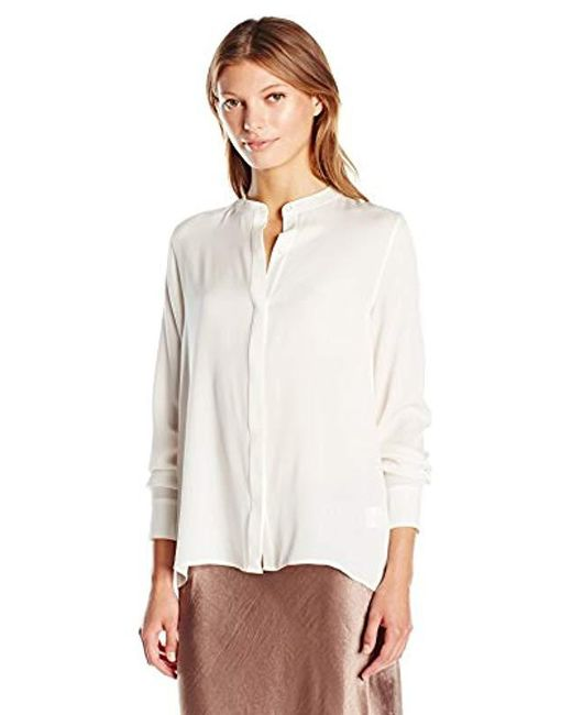 Vince - White Collarless Blouse - Lyst