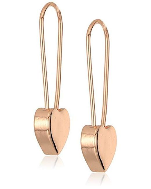Betsey Johnson - Metallic Rose Gold Heart Safety Pin Earrings - Lyst