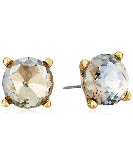 Badgley Mischka - Metallic Round Champagne Stone Stud Earrings - Lyst
