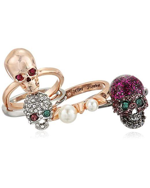 Betsey Johnson - Multicolor Multi-tone Skull Stackable Ring Set, Multi - Lyst